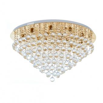 кристален плафон, злато, elbulgaria, 18x40w+led rgb, 879/18 gd