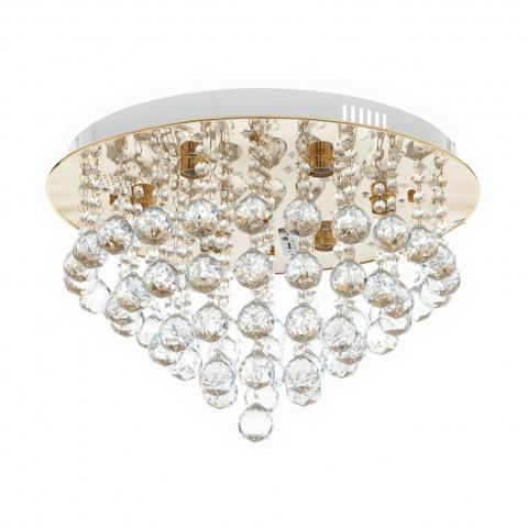 кристален плафон, злато, elbulgaria, 6x40w+led rgb, 879/6gd