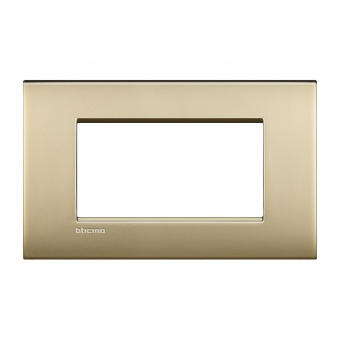 метална четиримодулна рамка, gold mat, bticino, livinglight air, lnc4804of