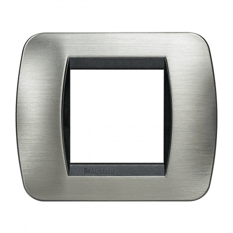 рамка, brushed steel, bticino, livinglight, l4802acs