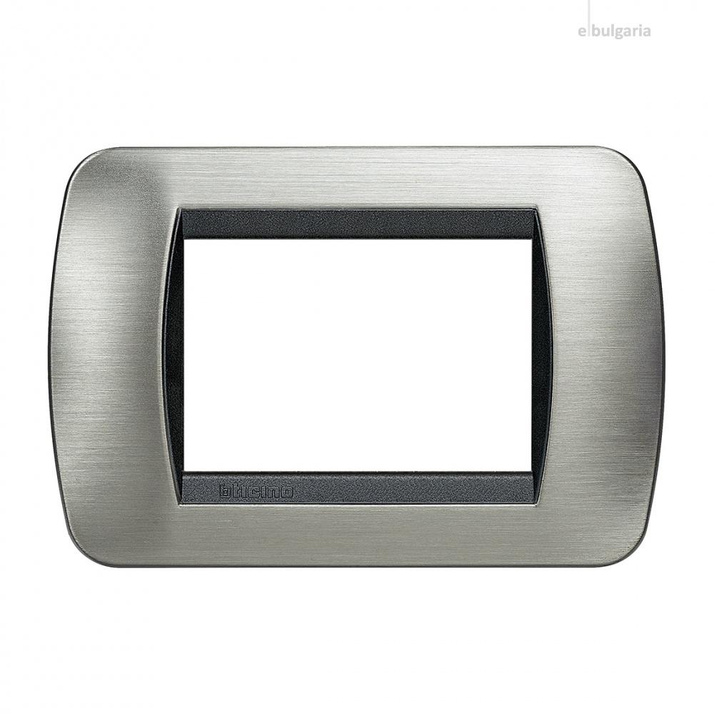 тримодулна рамка, brushed steel, bticino, livinglight, l4803acs