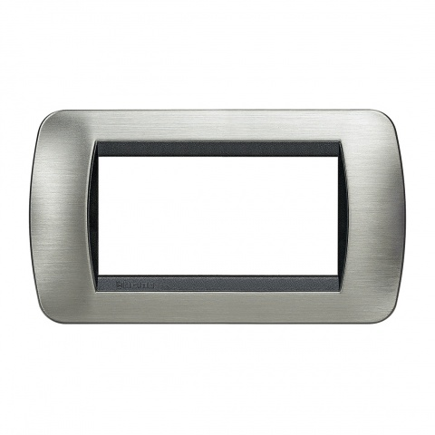четиримодулна рамка, brushed steel, bticino, livinglight, l4804acs