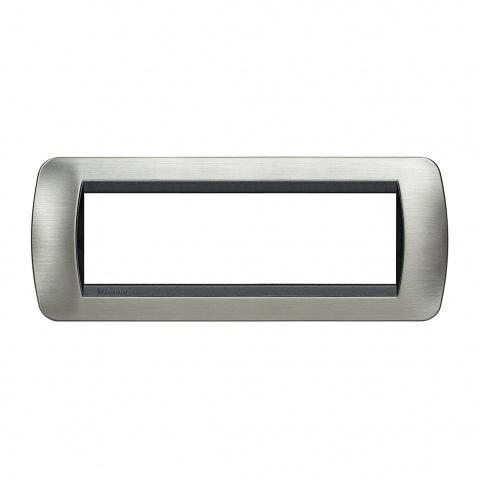 седеммодулна рамка, brushed steel, bticino, livinglight, l4807acs