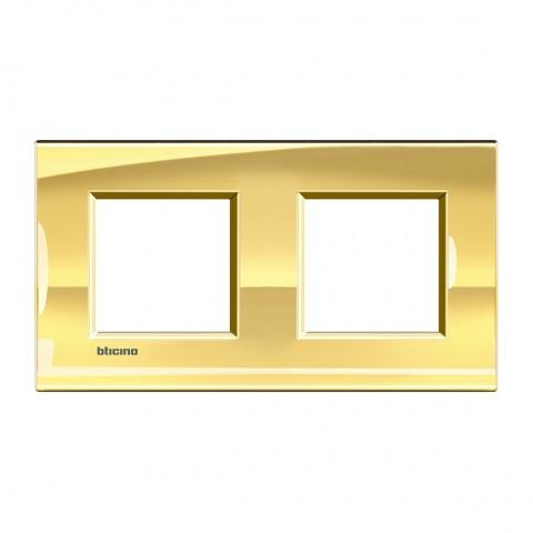 метална двойна рамка, ice gold, bticino, livinglight, lna4802m2oa