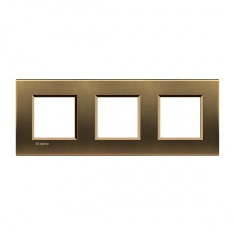 метална тройна рамка, bronze, bticino, livinglight, lna4802m3bz
