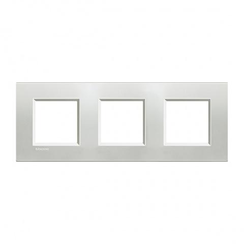 метална тройна рамка, silver,  bticino, livinglight, lna4802m3ag
