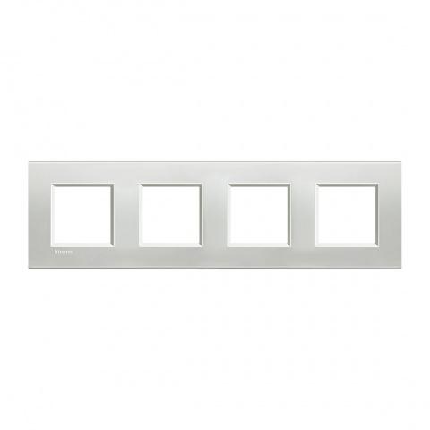 метална четворна рамка, silver,  bticino, livinglight, lna4802m4ag