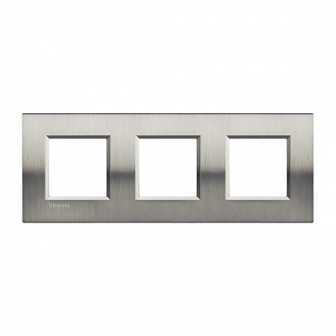 метална тройна рамка, brushed steel, bticino, livinglight, lna4802m3acs