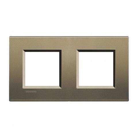 метална двойна рамка, square, bticino, livinglight, lna4802m2sq