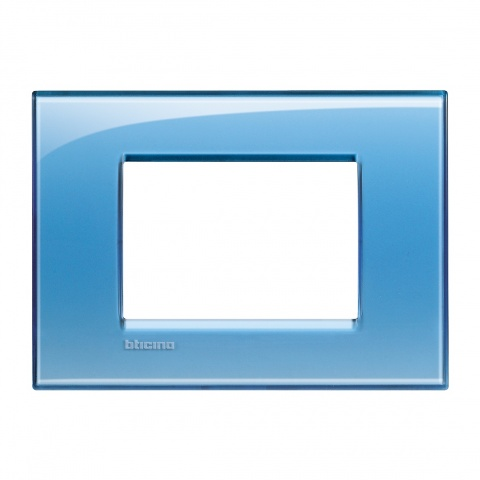 pvc тримодулна рамка, blue, bticino, livinglight, lna4803ad