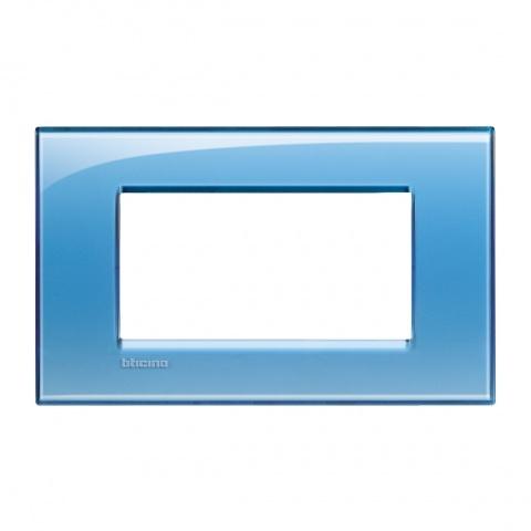 pvc четиримодулна рамка, blue, bticino, livinglight, lna4804ad