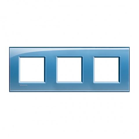 pvc тройна рамка, blue, bticino, livinglight, lna4802m3ad