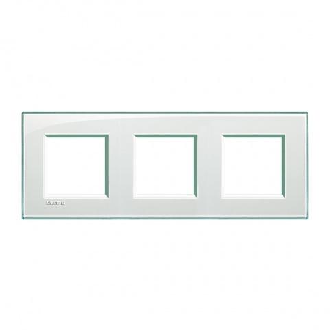 pvс тройна рамка, aquamarine, bticino, livinglight, lna4802m3ka