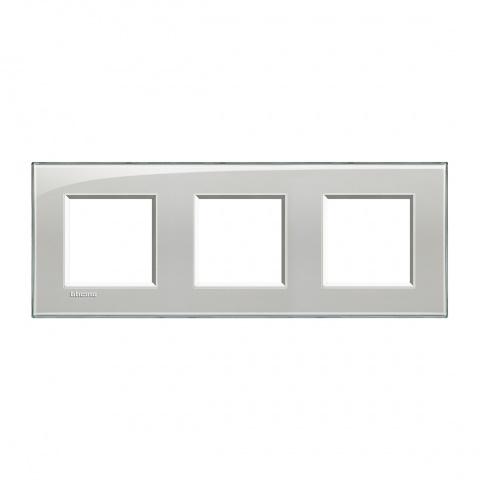 pvс тройна рамка, cold grey, bticino, livinglight, lna4802m3kg