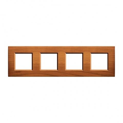 дървена четворна рамка, cherrywood, bticino, livinglight, lna4802m4lca