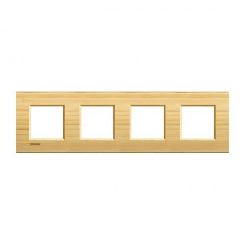 дървена четворна рамка, bamboo,  bticino, livinglight, lna4802m4lba
