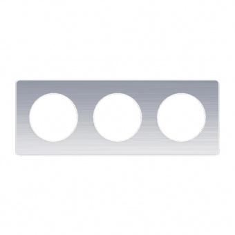тройна рамка, драскан алуминий, schneider, odace, s520806j