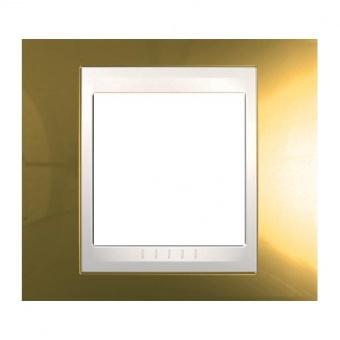 метална рамка, злато/слонова кост, schneider, unica plus, mgu66.002.504