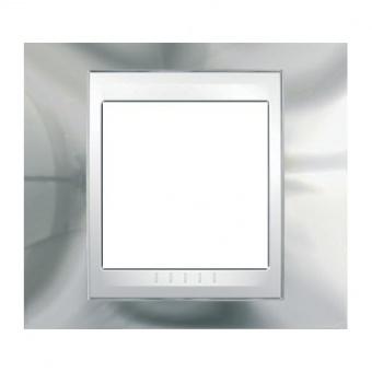 метална рамка, хром/бял, schneider, unica plus, mgu66.002.810