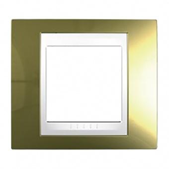 метална рамка, злато/бяла, schneider, unica plus, mgu66.002.804
