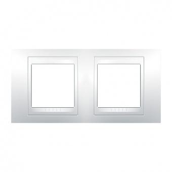 pvc двойна рамка, бяла, schneider, unica plus, mgu6.004.18