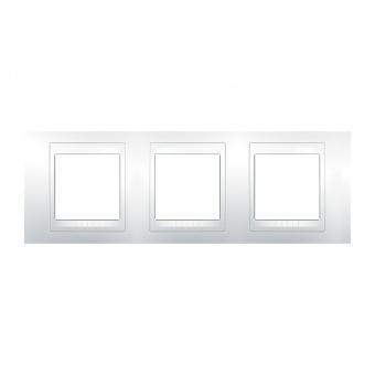 pvc тройна рамка, бяла, schneider, unica plus, mgu6.006.18