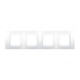 pvc четворна рамка, бяла, schneider, unica plus, mgu6.008.18