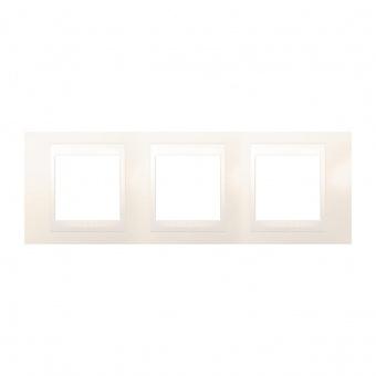 pvc тройна рамка, слонова кост, schneider, unica plus, mgu6.006.25