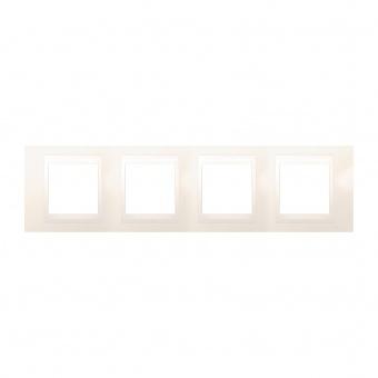 pvc четворна рамка, слонова кост, schneider, unica plus, mgu6.008.25