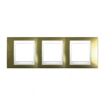 метална тройна рамка, злато/бял, schneider, unica plus, mgu66.006.804