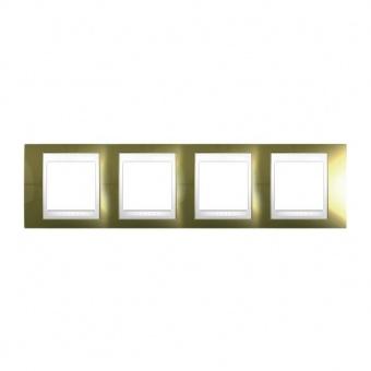 метална четворна рамка, злато/бял, schneider, unica plus, mgu66.008.804