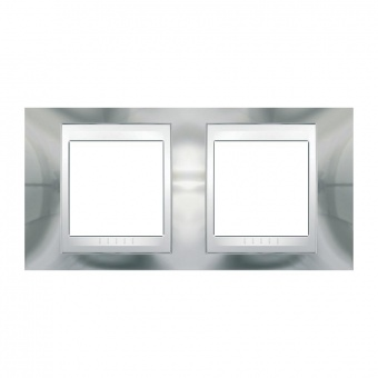 метална двойна рамка, хром/бял, schneider, unica plus, mgu66.004.810