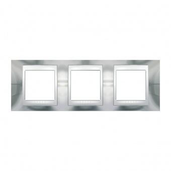 метална тройна рамка, хром/бял, schneider, unica plus, mgu66.006.810