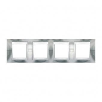 метална четворна рамка, хром/бял, schneider, unica plus, mgu66.008.810