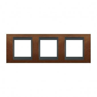 дървена тройна рамка, череша/графит, schneider, unica top, mgu66.006.2m2