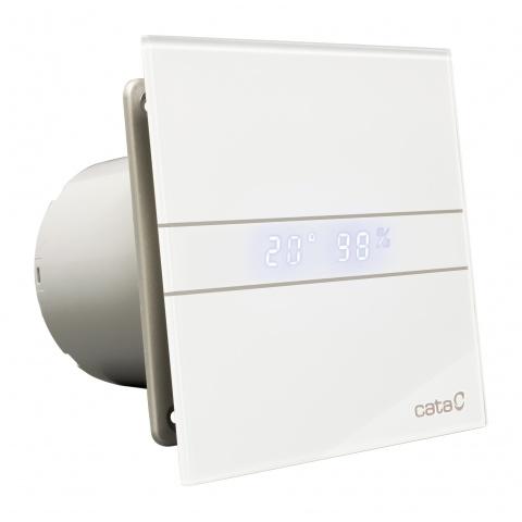 вентилатор за баня с датчик за влага и таймер, две скорости, бяло стъкло, cata, e-glas-gth, ф100, 115 m3/h, 8w, e-100gth