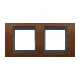 дървена двойна рамка, череша/графит, schneider, unica top, mgu66.004.2m2