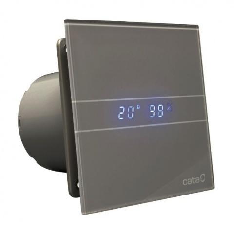 вентилатор за баня с датчик за влага и таймер, две скорости, сиво стъкло, cata, e-glas-gth, ф100, 115 m3/h, 8w, e-100gsth