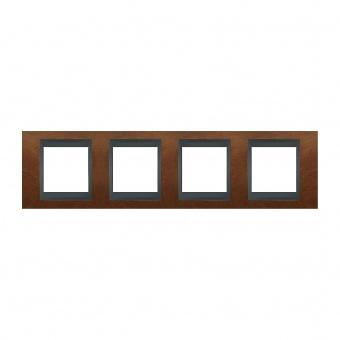 дървена четворна рамка, череша/графит, schneider, unica top, mgu66.008.2m2