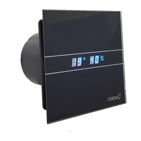 вентилатор за баня с датчик за влага, таймер, две скорсти, черно стъкло, cata, e-glas-gth, ф100, 115 m3/h, 8w, e-100gthbk