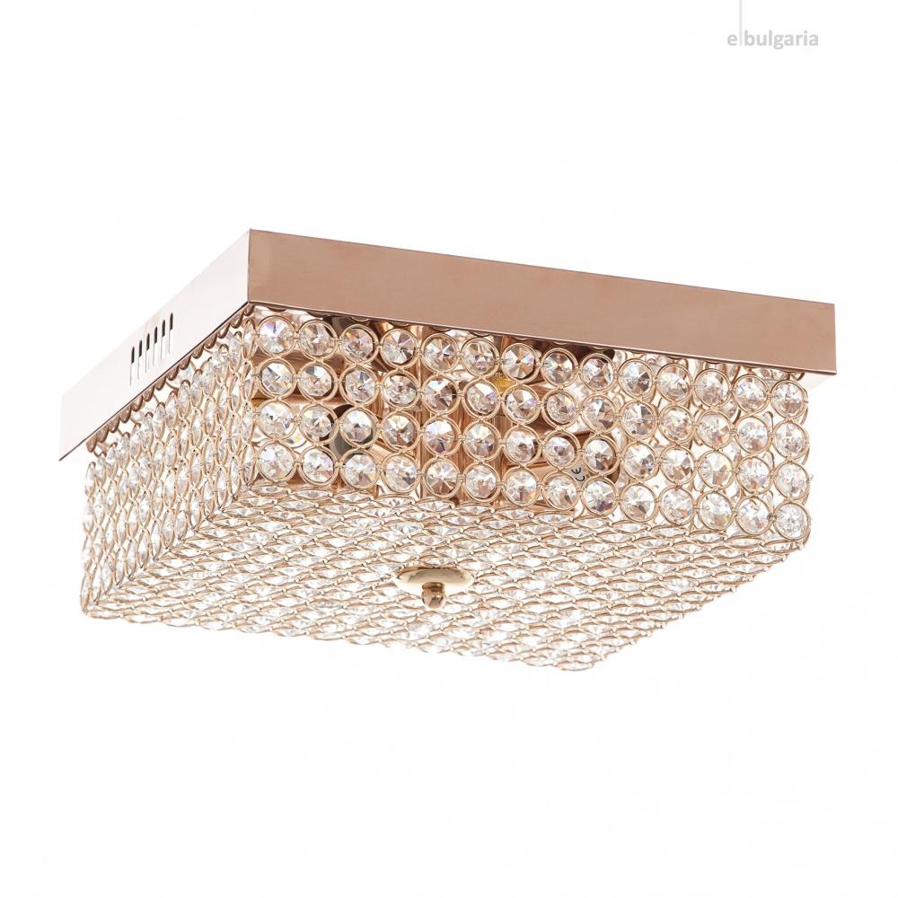 кристален плафон, злато, elbulgaria, 4x40w+led rgb, 1255/30 gd