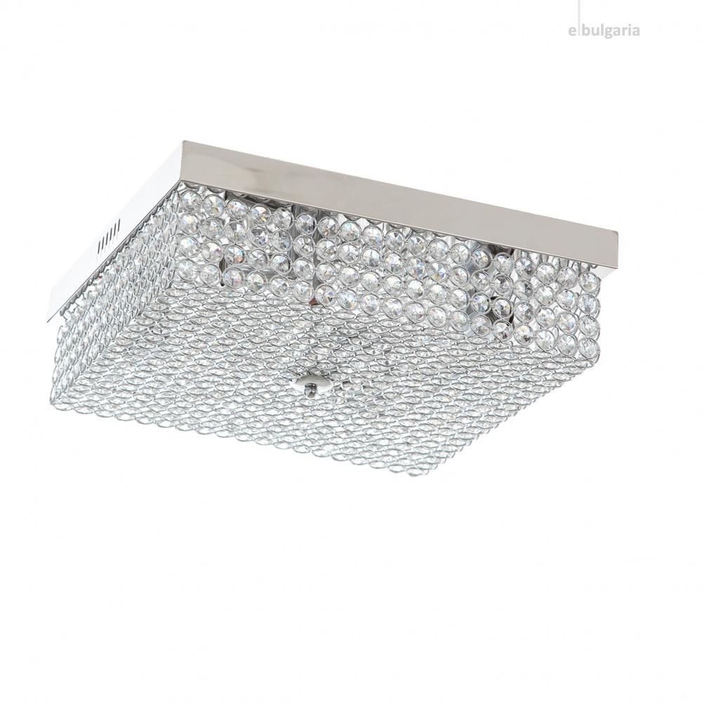 кристален плафон, хром, elbulgaria, 4x40w+led rgb, 1255/40 ch
