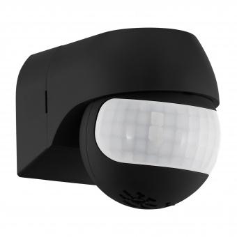 pvc сензор за движение, black, detect me 1, eglo, 180°, 12m, max 400w, 10-900sec, 96454