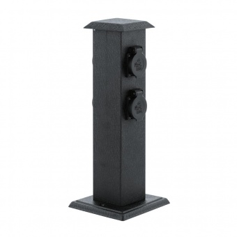метален стълб с 4 контакта, black, eglo, park 4, 93426