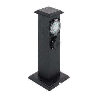 метален стълб с контакт и таймер, black, eglo, park t, 96352