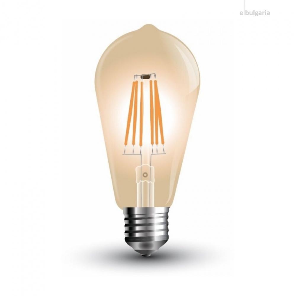 led лампа, 8w, e27, топла светлина, led vintage, 2200k, 700lm, 4421