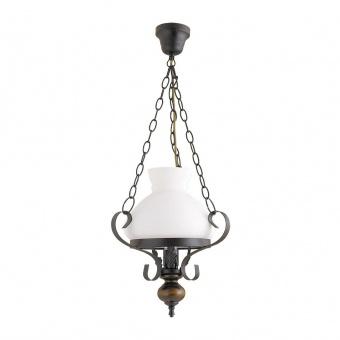 метален пендел, matte black/walnut/opal glass, rabalux, petronel, 1x60w, 7076