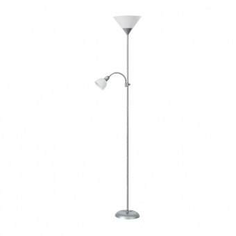метален лампион, satin chrome/white, rabalux, action, 1x100w+1x25w, 4064