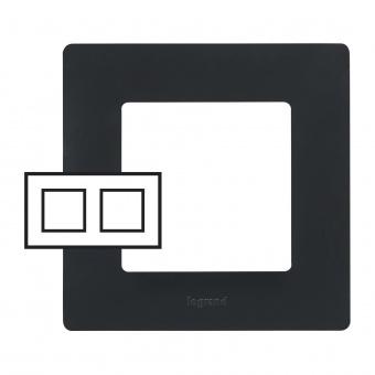 pvc двойна рамка, черна, legrand, niloe, 397052