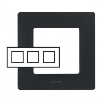 pvc тройна рамка, черна, legrand, niloe, 397053